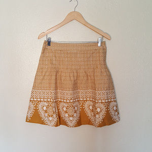 Downeast Gold and White Patten 100 % Cotton Skirt